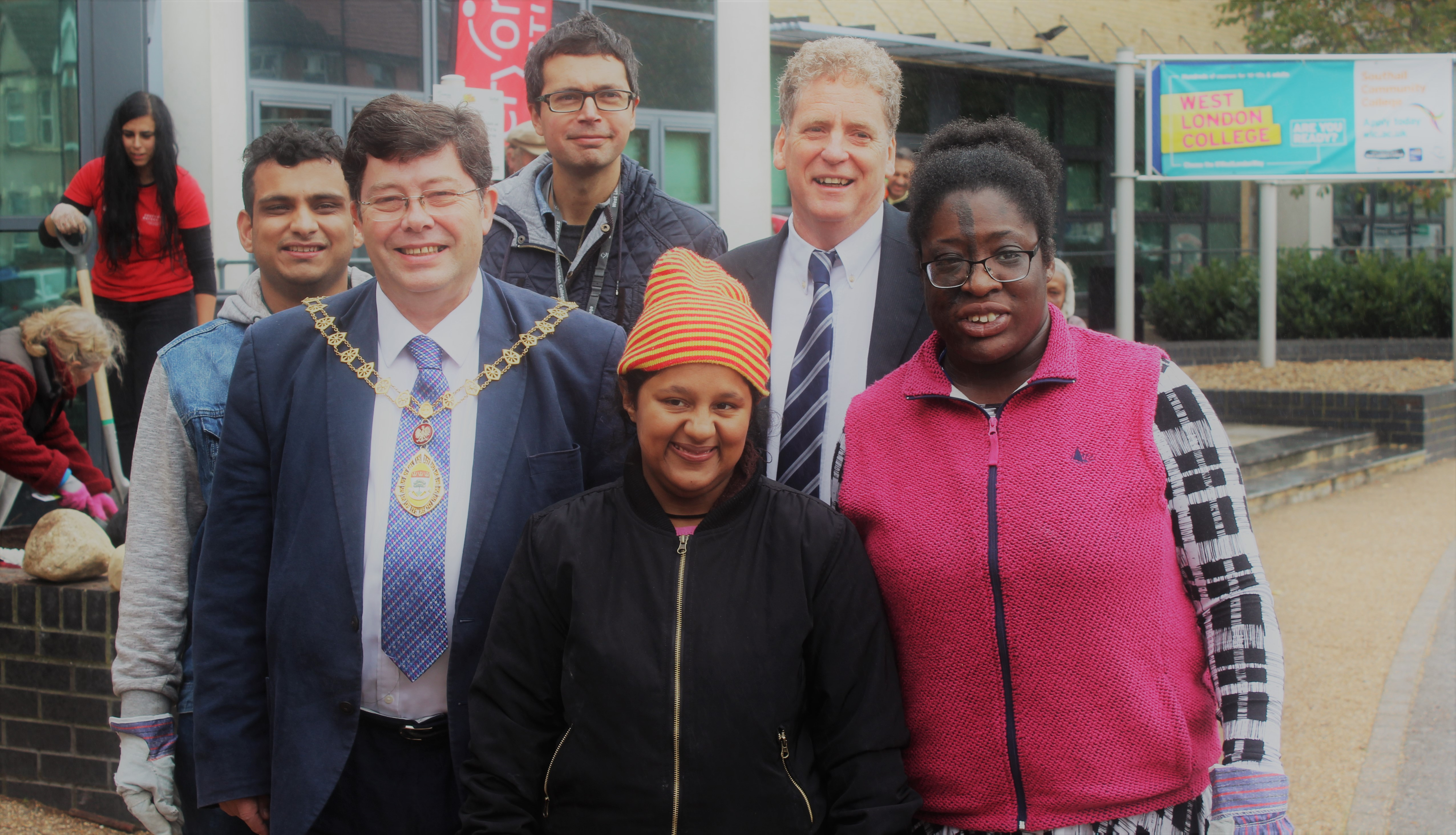 Ealing Mayor Simon Woodroofe with students from Southall Community College